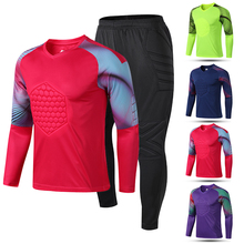New Men's Adult Soccer Goalkeeper Uniform Protective Sponge long Sleeve Training Football Goalkeeper Soccer Jersey Top and Pants