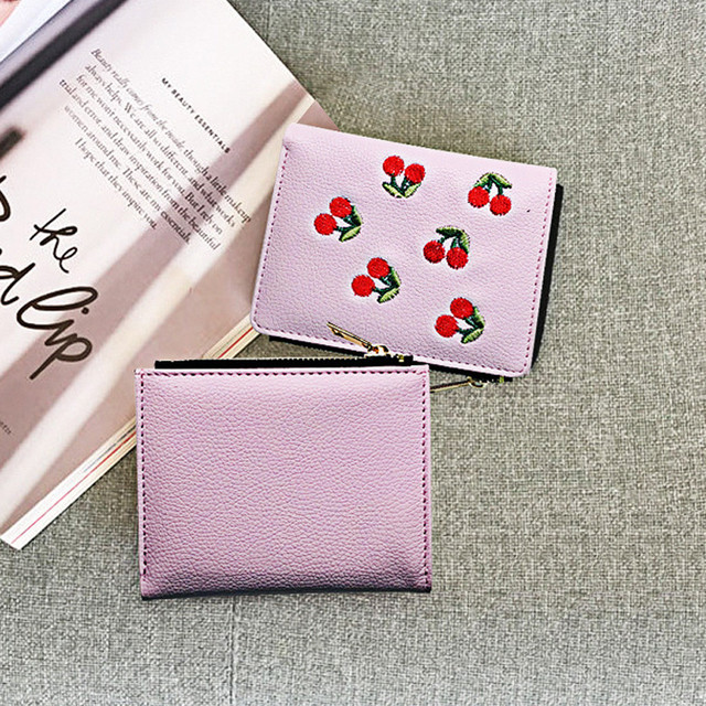 Female Wallet Short Embroidery Fruit Cherry Coin Purse Women Wallets Pink Green Black Gray Womens Wallets And Purses 819