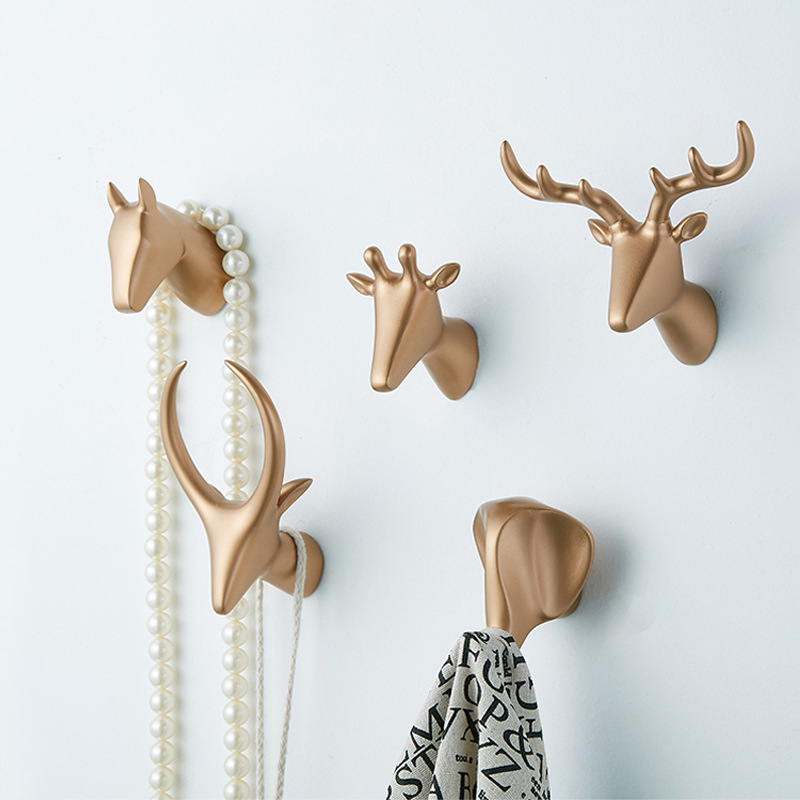 Nordic Creative Animal Head Key Holder Nordic Wall Hook Home Decoration Antlers Hang Hooks For Keys Bathroom Wall Hangers Hooks