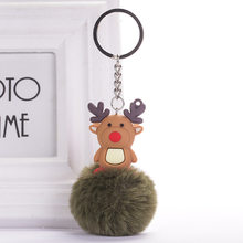 Elk Shape Keychain Fake Fur Ball Pompom Key Rings Xmas Decorative Bag Pendant Women Men DIY Car Key Holders Christmas Gifts(China)