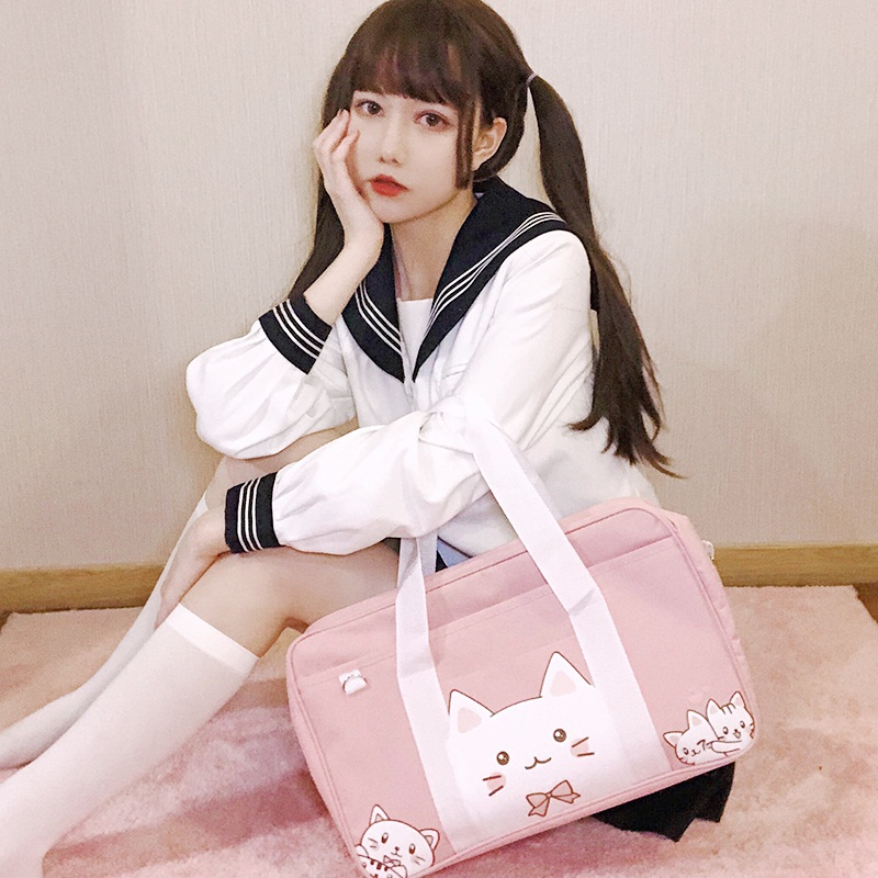 Japanese sweet lolita Petite Fresh Harajuku Sac à main en toile JK itabag Cosplay Girl
