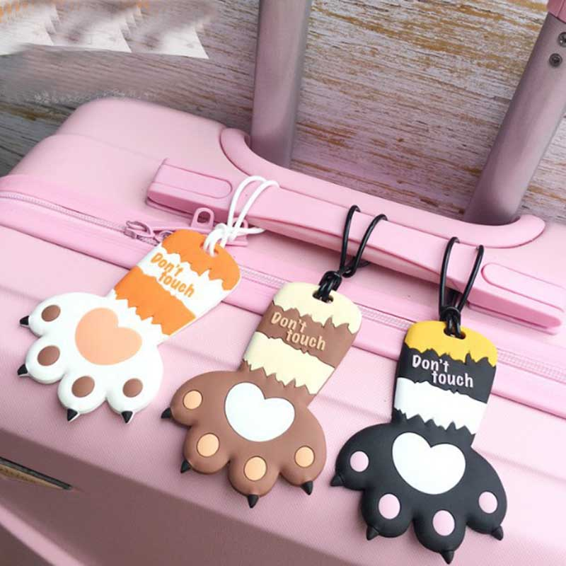 6 Colors Cute Cat's Paw Luggage Travel Accessories Tag Silica Gel Suitcase ID Addres Holder Baggage Boarding Tag Portable Label image