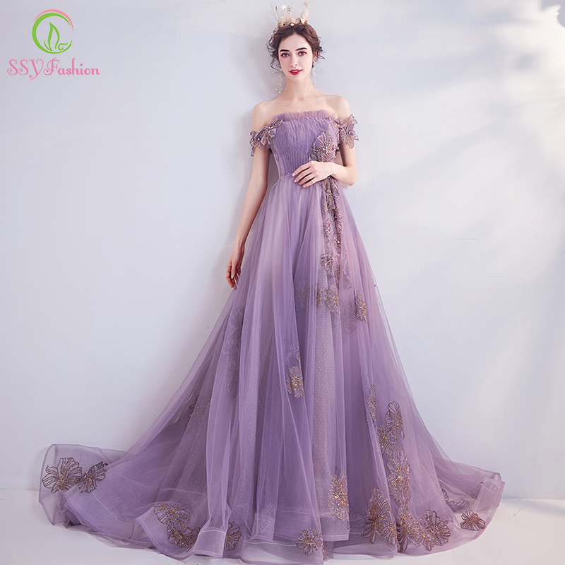 SSYFashion New Banquet Elegant Purple Evening Dress Sweet Boat Neck Lace Appliques Beading Long Formal Gown Vestido De Noche