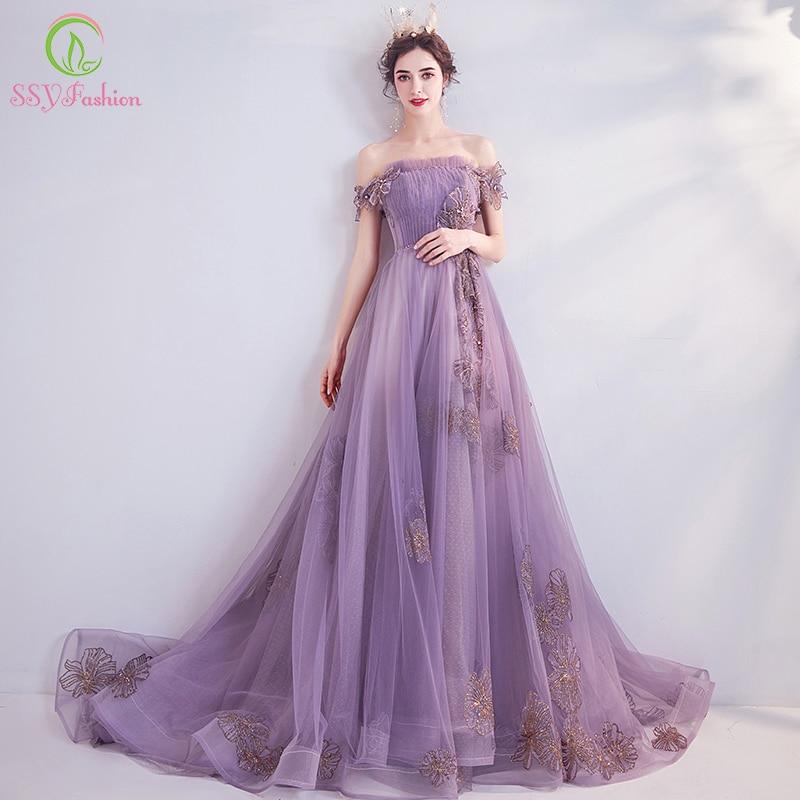 SSYFashion New Banquet Elegant Purple Evening Dress Sweet Boat Neck Lace Appliques Beading Long Formal Gown Vestido De Noche