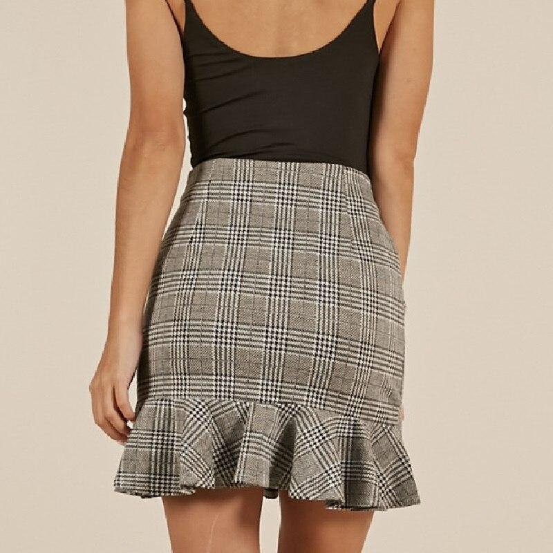 Plaid Mini Skirt Womens High Waist Ruffle Skirt Office Lady Work Skirts Sexy Empire Skirts above Knee