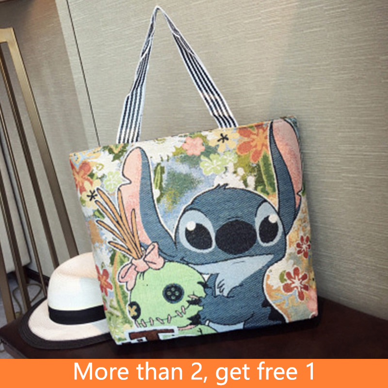 Disney Mickey Mouse Stitch Pooh Bear Canvas Cross-Body Backpack Shoulder Messenger Fashion Shopping Bag Toys For Children