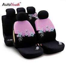 AUTOYOUTH Fundas de asiento de coche para mujer, Compatible con la mayoría de coches y Airbag, Color rosa con bordado de flores