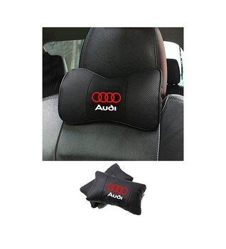 Автомобильная подушка для шеи, кожаная опора для головы автомобильного сиденья, протектор для шеи, подушка для отдыха и путешествий для Audi (2 шт.)