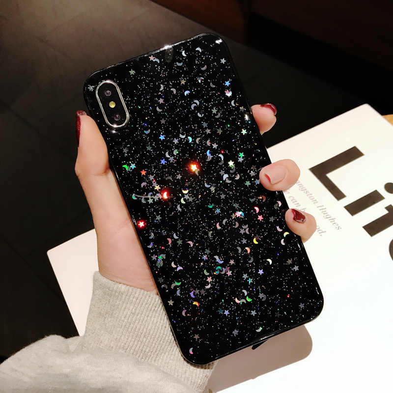Luxo brilho estrela lua tpu caso de telefone para iphone x xs max 7 8plus 6s xr transparente tpu caso para iphone 11 pro max capa
