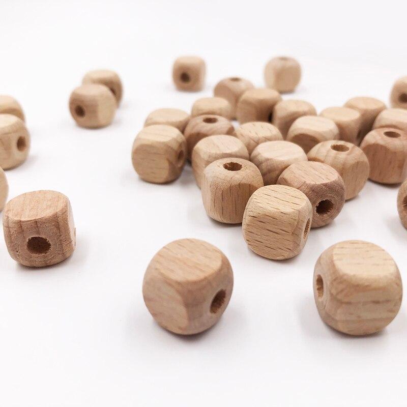 100 шт./лот кубические деревянные Квадратные бусины 10 мм 12 мм натуральные Буковые деревянные бусины для маленьких детей, игрушки для изготовл...