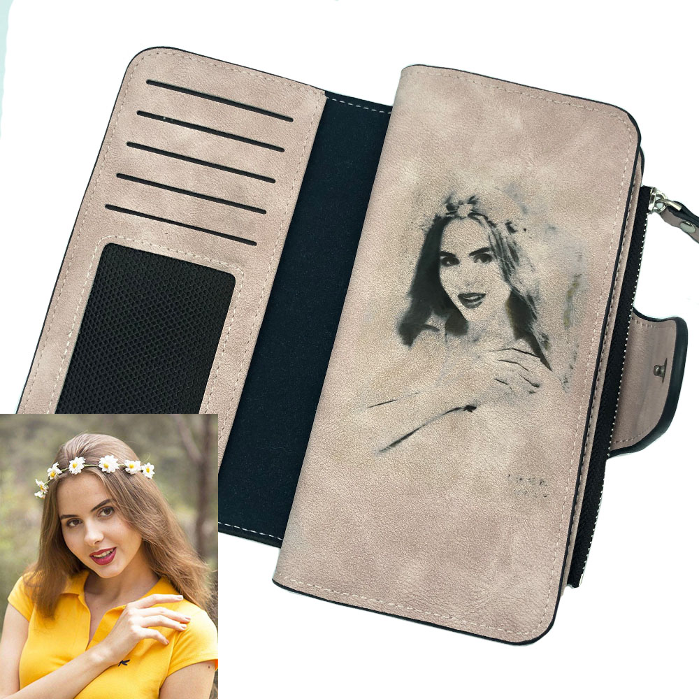 Photo Engraving Women Wallets Long PU Leather Name Engrave Card Holder Female Purse Top Quality Zipper Big Brand Wallet For Girl