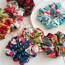 Рождественские резинки для волос эластичные аксессуары бархатные