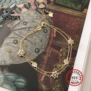 цены S'STEEL Snowflake925 Sterling Silver Bracelet For Women Bracelets Zircon Gold Chain Pulseras Plata De Ley 925 Mujer Fine Jewelry