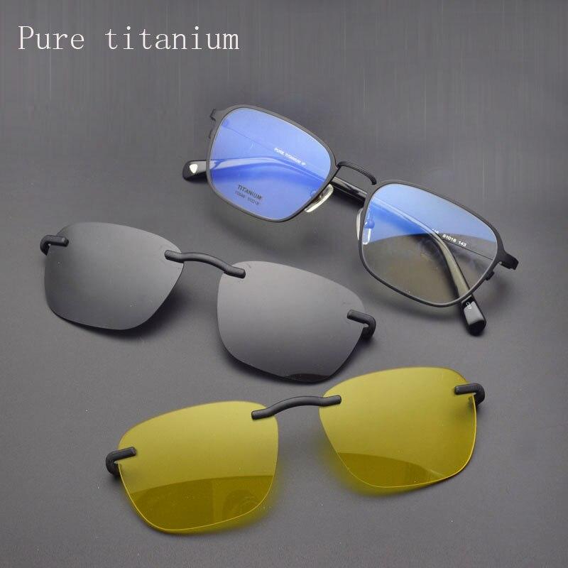 Lightweight Pure Titanium Full Frame Glasses Frame With Polarized Eyeglasses Retro Men s Sunglasses Night Vision