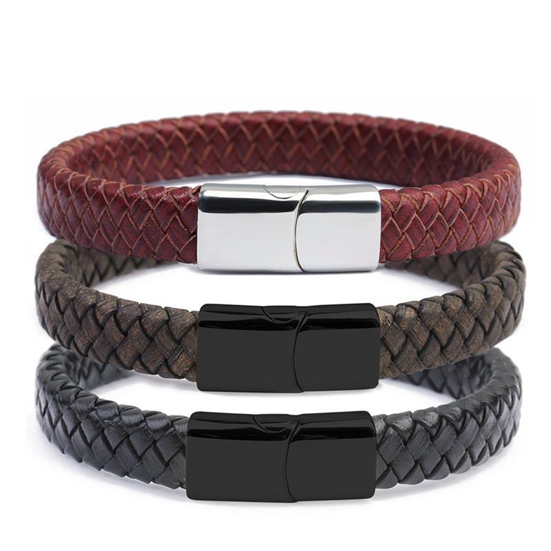 Fashion Male Jewelry Braided Leather Bracelet Handmade Bracelet Gold Black Stainless Steel Magnetic Clasps Men Wrist Bangles