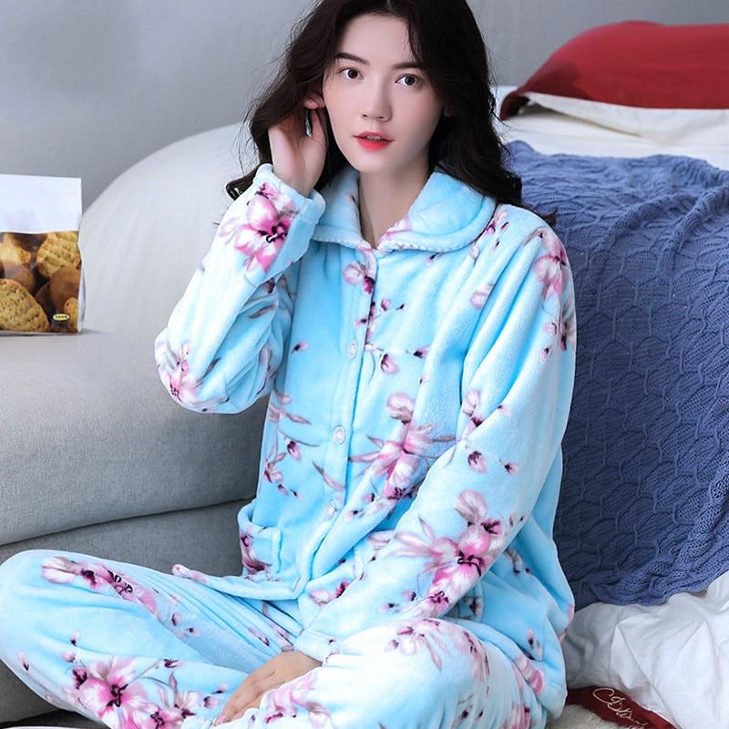H5823 Plush Women Pajamas Suit Female Thickened Coral Fleece Home Wear Nightgown Flannel Long Sleeve Autumn Winter Sleepwear
