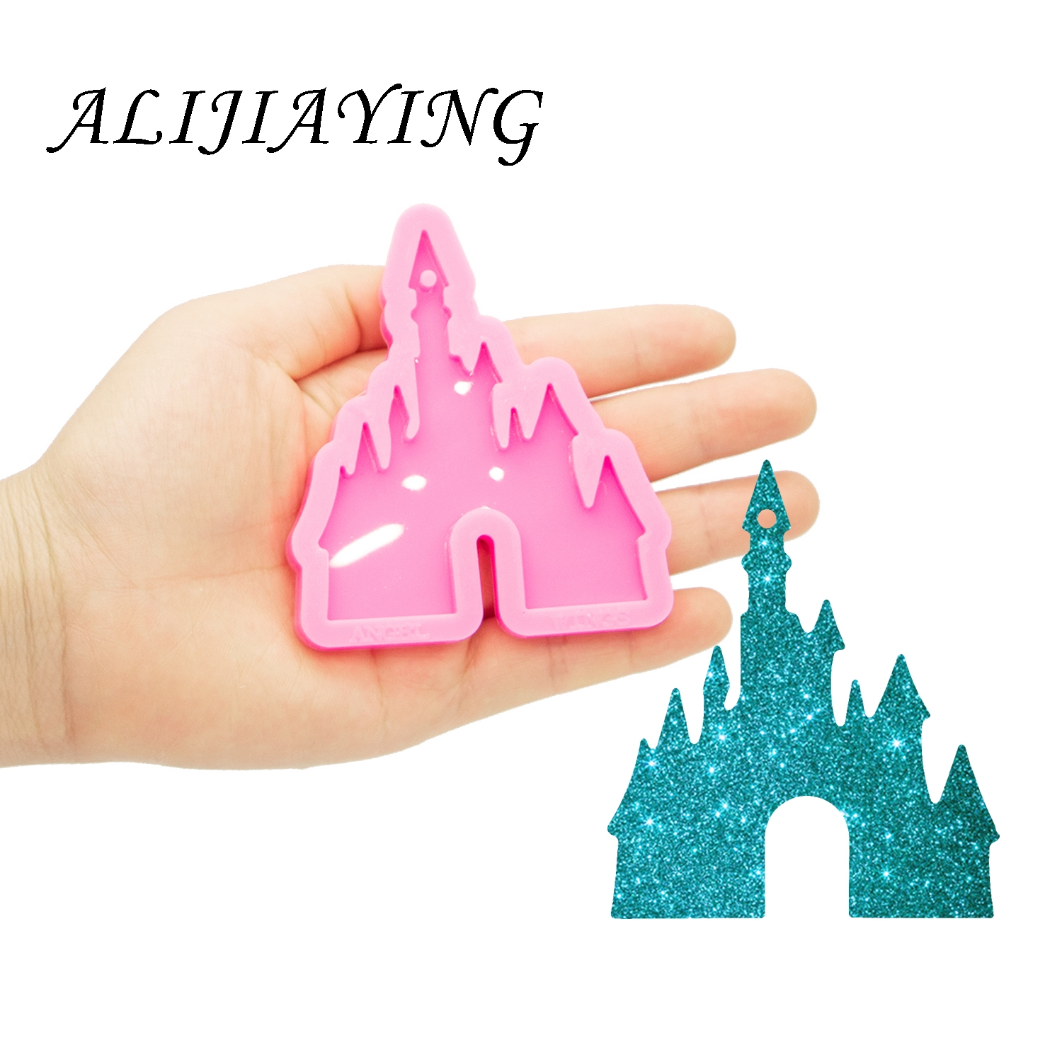 Shine Inside Castle Keychain Mold Silicone Mould For Resin Epoxy Craft DIY Jewelry Pendant DY0479