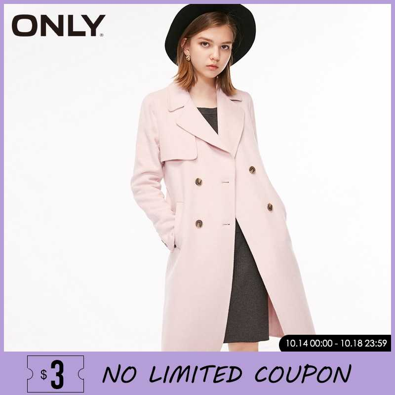 ONLY Women Autumn & Winter Double-breasted Lace-up Wool Trench Coat| 11834S503