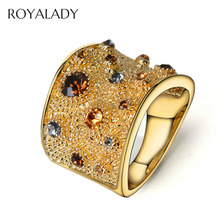 Trendy Rhinestone Paved Round Finger Rings For Women Gold Color Crystal Vintage Fashion Jewelry Wedding Party Band Wide Rings china supplier his and hers gold color titanium wedding band finger rings women