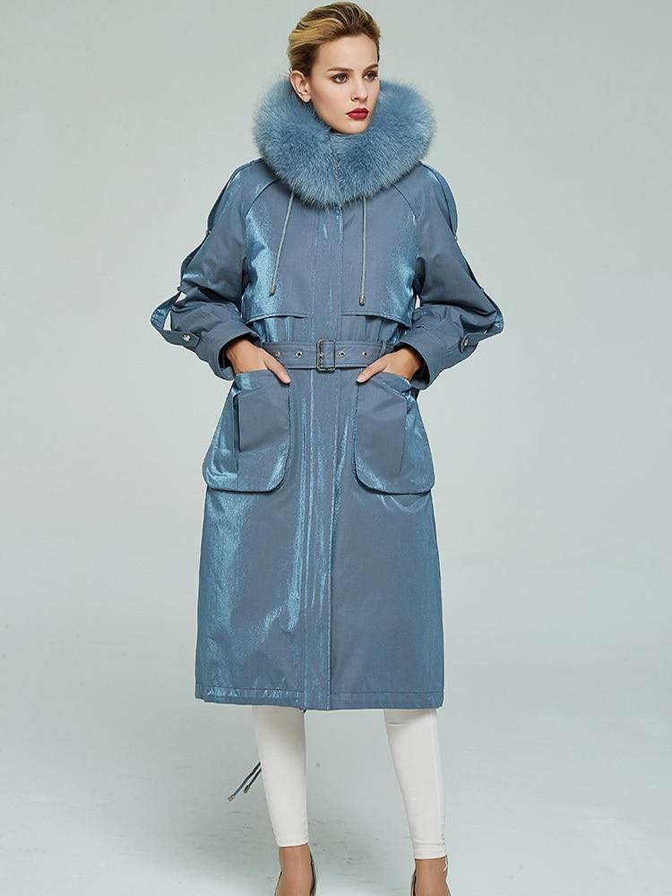 Real Fur Coat Female Natural Rex Rabbit Fur Liner Parka Winter Jacket Women Fox Fur Collar Korean Long Jackets Hiver 8708