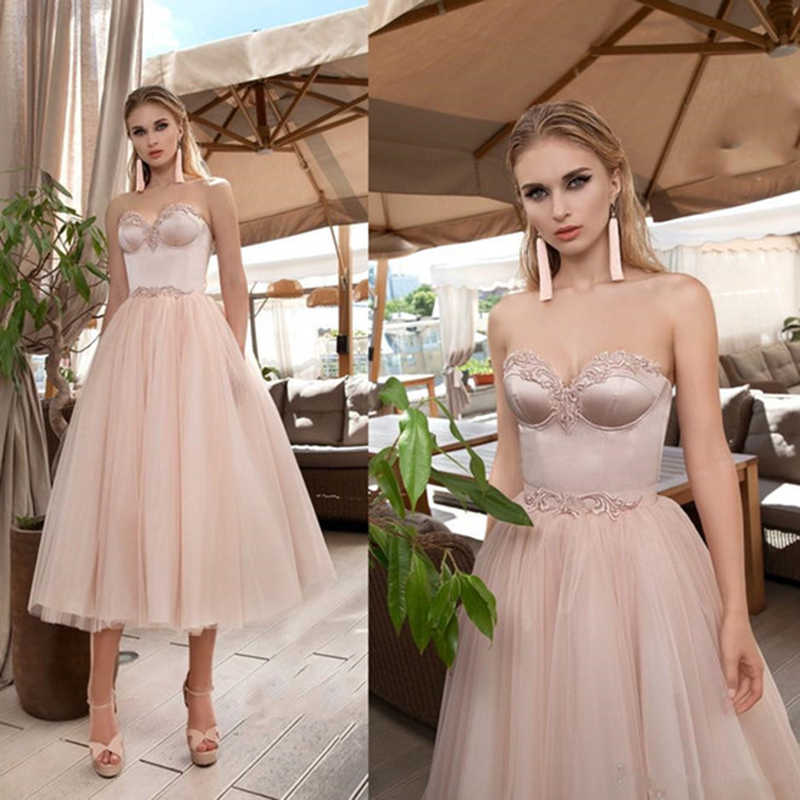 Sweety Pink A-Line Prom Dresses Sweetheart Appliqued Tulle Short Evening Gowns Tea-length Formal Prom Dress