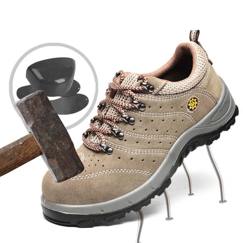 Мужская защитная обувь размера плюс, кожаная, дышащая, строительная, стальная, небьющаяся, уличная, Рабочая обувь # YS006