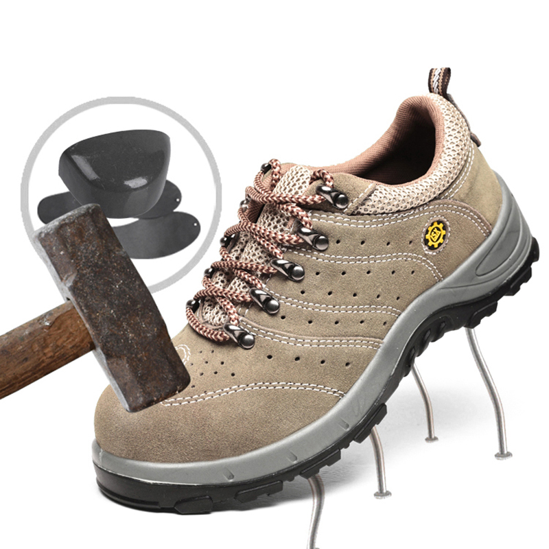 Plus Size Men Safety Shoes Leather Breathable Construction Cap Toe Steel Stab-resistant Indestructible Outdoor Work Shoes #YS006