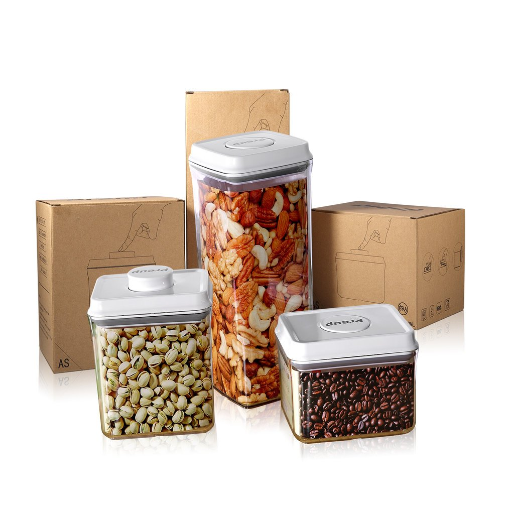 PREUP Multi-purpose Smooth Washable Space-Saving Sealed Box Food Storage Container One Touch Button 2500ml