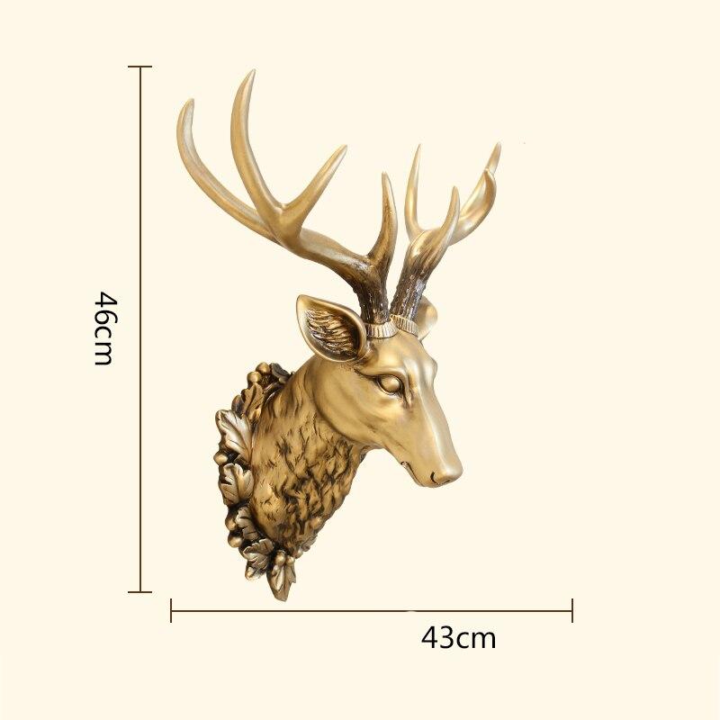 Grote Herten Hoofd Standbeeld Woondecoratie Accessoires 3D Dier Abstracte Sculptuur Muur Hang Decor Kerst Standbeeld Woonkamer Muurschildering - 5