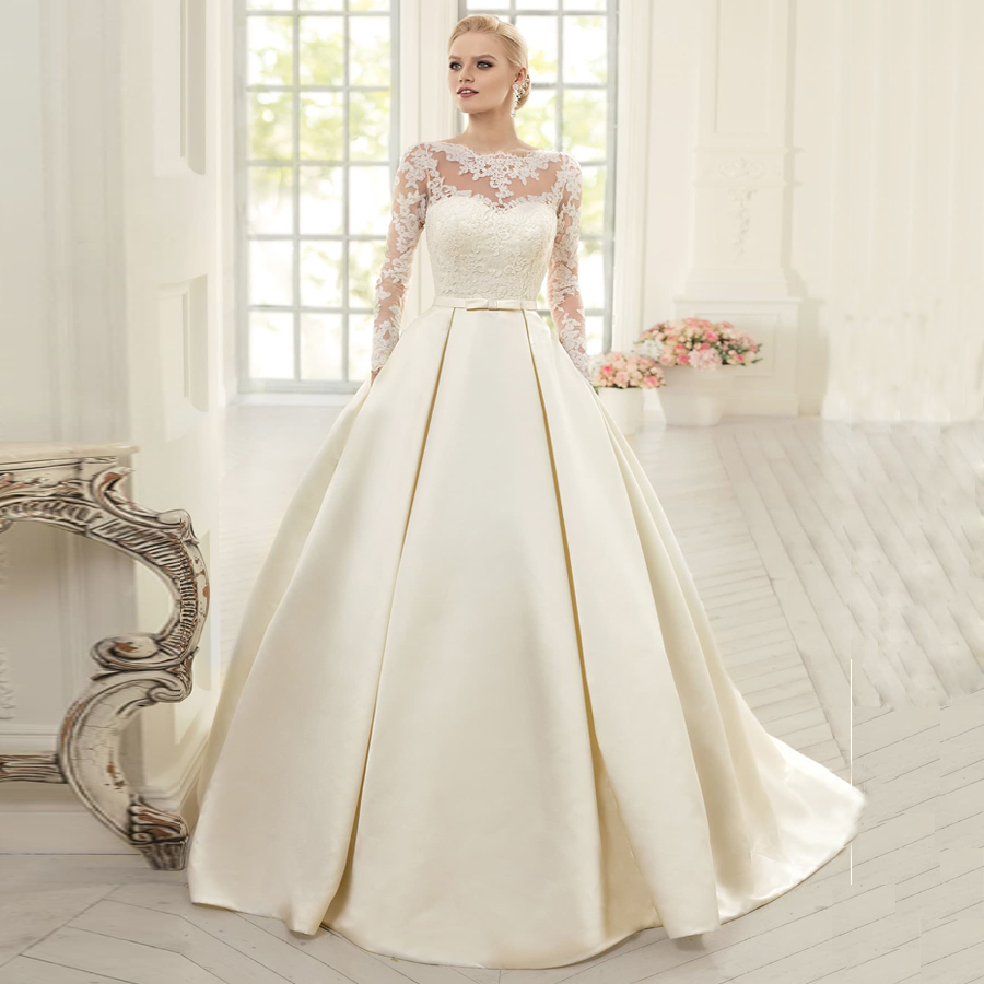 ADLN Satin Wedding Dresses With Pockets O-neck Long Sleeves Arabic Lace Wedding Dress Robe De Mariee Vestido De Noiva