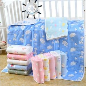 Image 1 - Cobertor do bebê 110x110 cm musselina algodão 6 camadas grosso recém nascido swaddling outono bebê swaddle cama dos desenhos animados recebendo cobertor