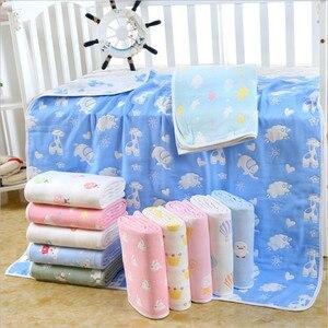 Image 1 - Couverture pour bébé en mousseline de coton 110x110 CM, 6 couches, épais pour nouveau né pour emmailloter, literie, dessin animé, réception