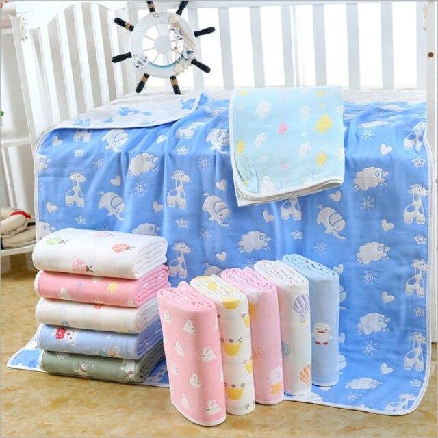Couverture pour bébé en mousseline de coton 110x110 CM, 6 couches, épais pour nouveau né pour emmailloter, literie, dessin animé, réception