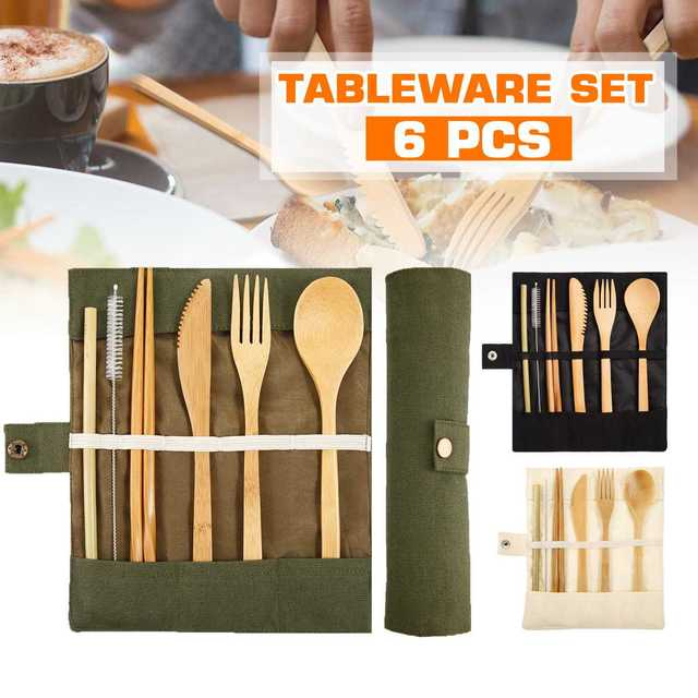 6 Pcs Tableware Natural Eco-Friendly Bamboo Wood Fork Spoon Cutlery Set Cutlery Tableware Dinnerware Sets 2