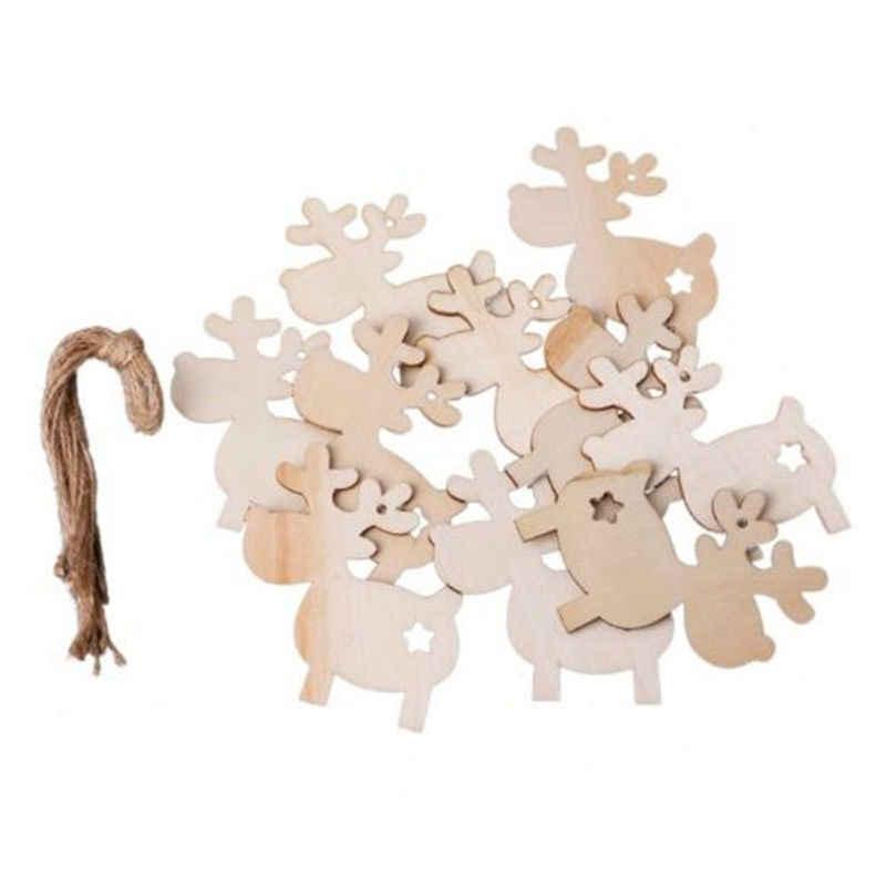 10 قطعة شجرة تزيين عيد الميلاد الخشب رسمت الأيائل قلادة عيد الميلاد ديكور حفلات الغزلان المعلقات عيد الميلاد الديكور للمنزل