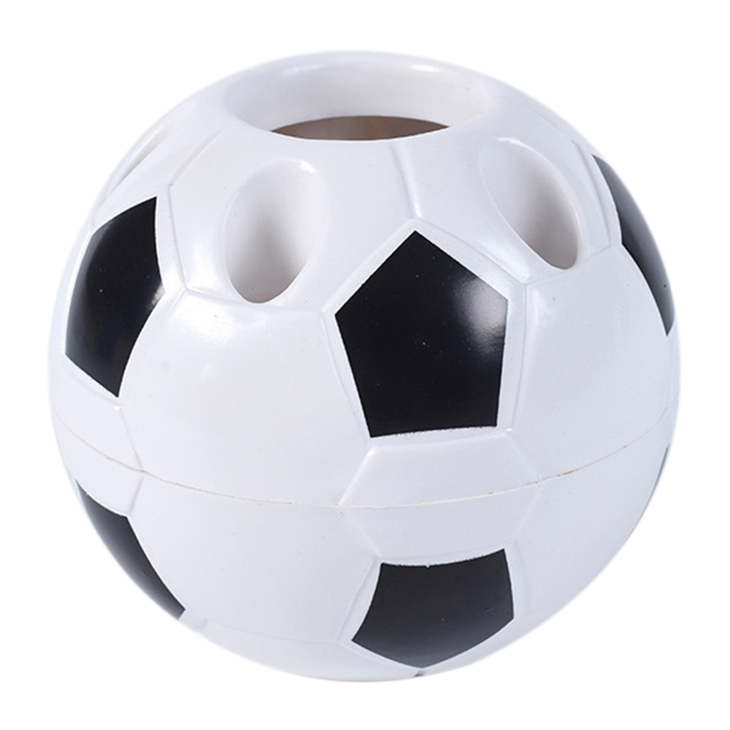 Soccer Shaped Pen Holder Football Makeup Brush Holders Desk Table Home Office Bedroom Toothbrush Holder Decoration Supplies——Bla