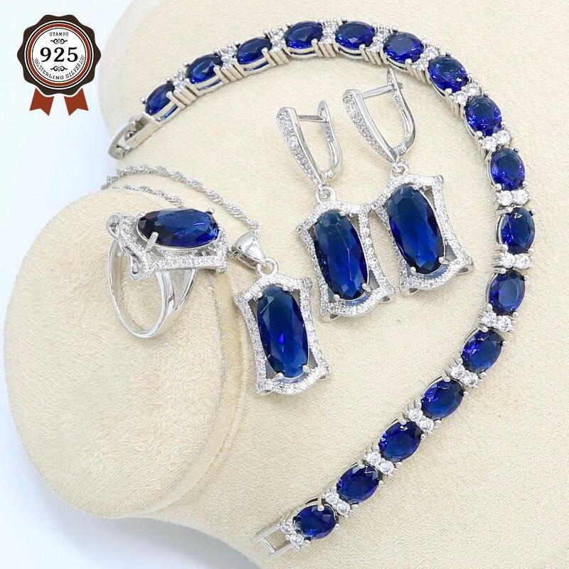 Геометрический синий полудрагоценный серебряный цвет набор украшений для женщин браслет серьги ожерелье подвеска кольцо вечерние подарочная коробка|Ювелирные наборы для невесты|   | АлиЭкспресс