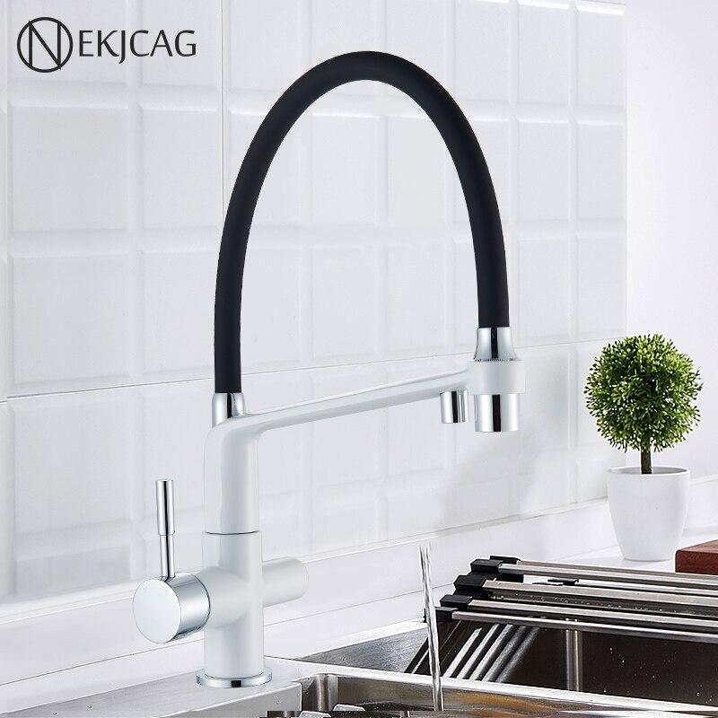 Kitchen Mixer Faucet Tap WATER FILTER Rotation Double Handle Torneira Cozinha De Parede Crane