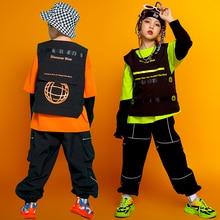 Street Hip Hop Dance Clothing Kids Vest Green Tops Girls Hiphop Pants Casual Kids Wear Ballroom Modern Dance Costume Cool BL5234