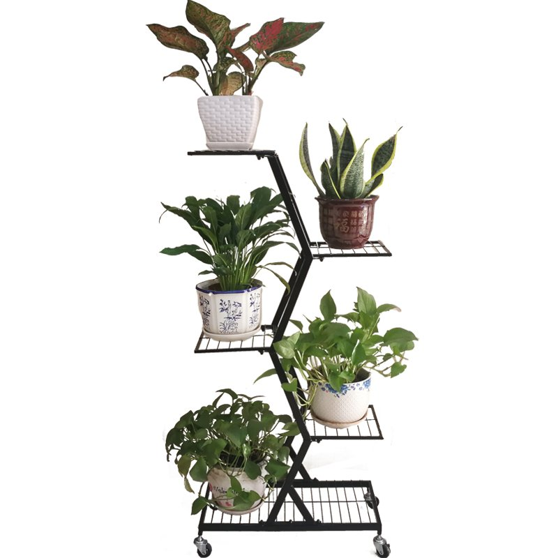 Multilayer, Wrought Iron Balcony Decoration Showy Plant Decoration In The Living Room Floor, Green Potted Frame Money Plant Flow