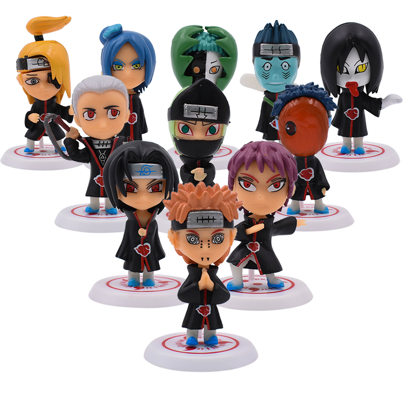 11pcs/lot 5cm Anime Naruto Action Figure Toys Uzumaki Naruto Uchiha Sasuke Hatake Kakashi   Pvc Model Doll Collection Kids Toys