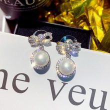 925 Silver Needle Micro-inlaid Zircon Bow Earrings Female Advanced Pearl Simple