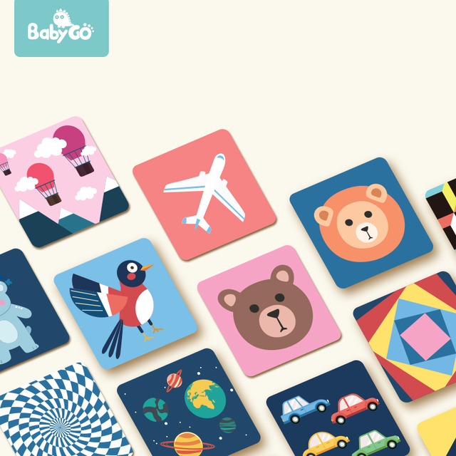 BabyGO 80PCSชุดเด็กการเรียนรู้ของเล่นการ์ดผลไม้/สัตว์/ชีวิตภาพกระตุ้นEarly Education Cardสำหรับเด็กการ์ดแฟลช