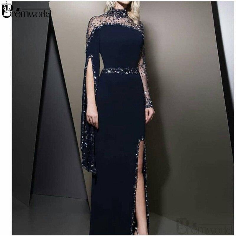 Elegant Muslim Evening Dresses 2020 Navy Blue Formal Dress High Neck Crystal Beads Dubai Kaftan Long Sleeve Sexy Slit Prom Gown