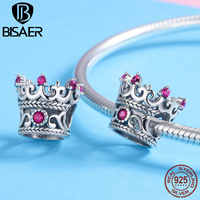 BISAER Hot Sale 925 Sterling Silver Charms Princess Crown Queen Crown Pink CZ Beads Fit for Bracelet Silver 925 Jewelry Making
