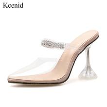 Kcenid Sexy PVC transparent pantoufles sandales été mode bout pointu diamant dames cristal talon mules talons hauts chaussures de fête