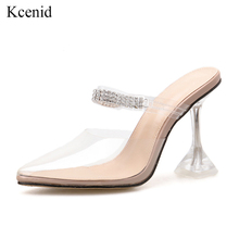 Kcenid Sexy PVC transparent slippers sandals summer fashion pointed toe diamond ladies crystal heel mules high heels party shoes