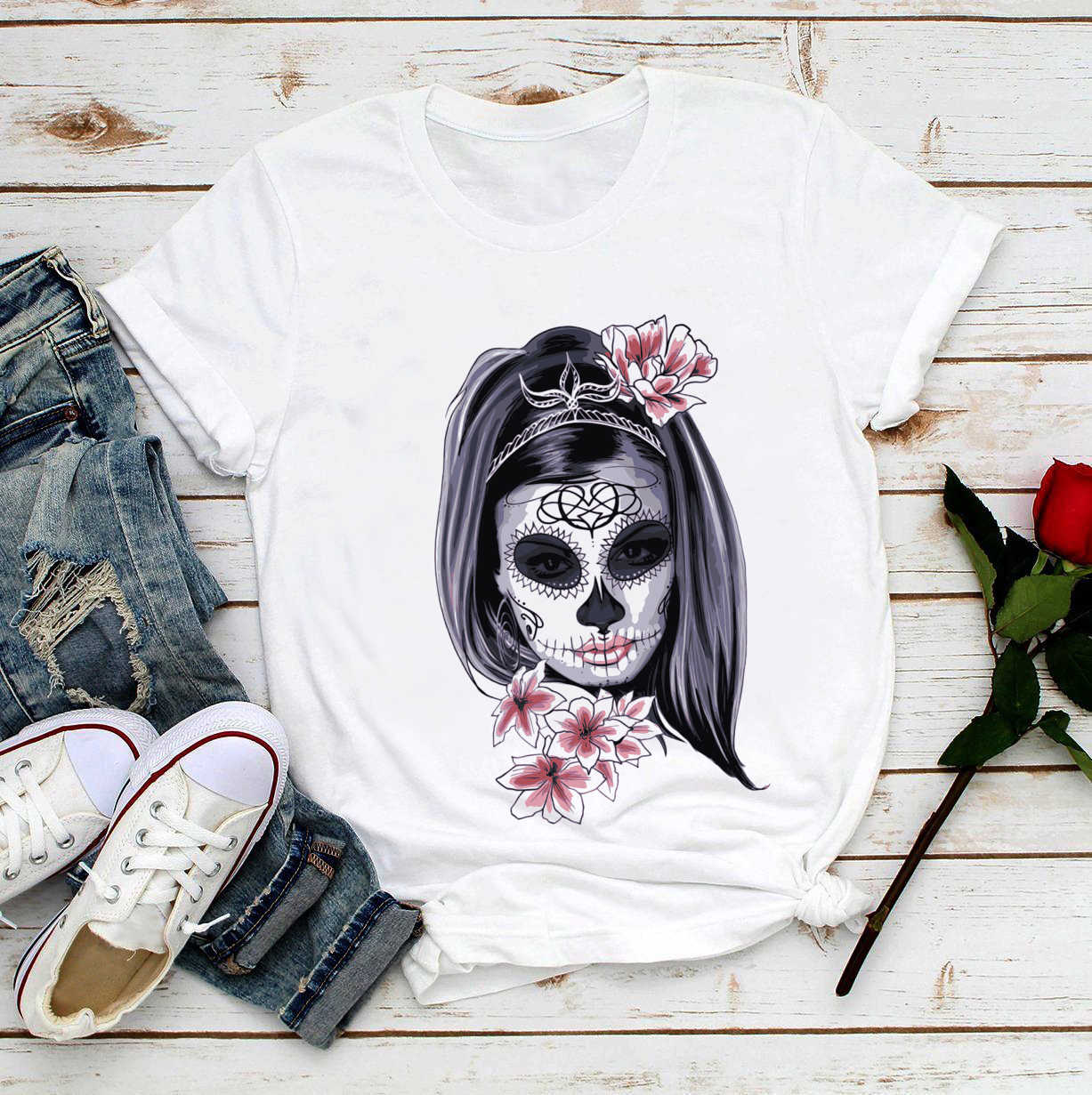 Donne T-Shirt Divertente day of the dead t-shirt del cranio dello zucchero del cranio dello zucchero estate delle donne di nuovo bianco casual dolce kawaii t-shirt delle donne