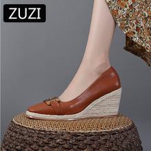 ZUZI 2021 metalowy guzik sztuczna skóra kliny buty damskie płytkie usta espadryle wiosenny i jesienny nowy sandały wysokie obcasy tanie tanio CN (pochodzenie) Wysoka (5 cm-8 cm) 0-3 cm Na co dzień podstawowe Klinowe Pokryte RUBBER Wsuwane Dobrze pasuje do rozmiaru wybierz swój normalny rozmiar