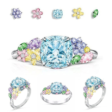 Hot Finger Ring for Ladys Square Cz Zircon Princess Women Wedding Engagement Blue Red Color Jewelry D20